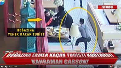 İstanbul'da Hayat Kurtaran Garson Mobese Kameralarında